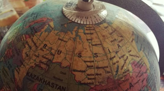 Globe showing various countries
